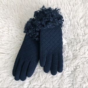 Pia Rossini Black Quilted Wool Faux Fur Gloves